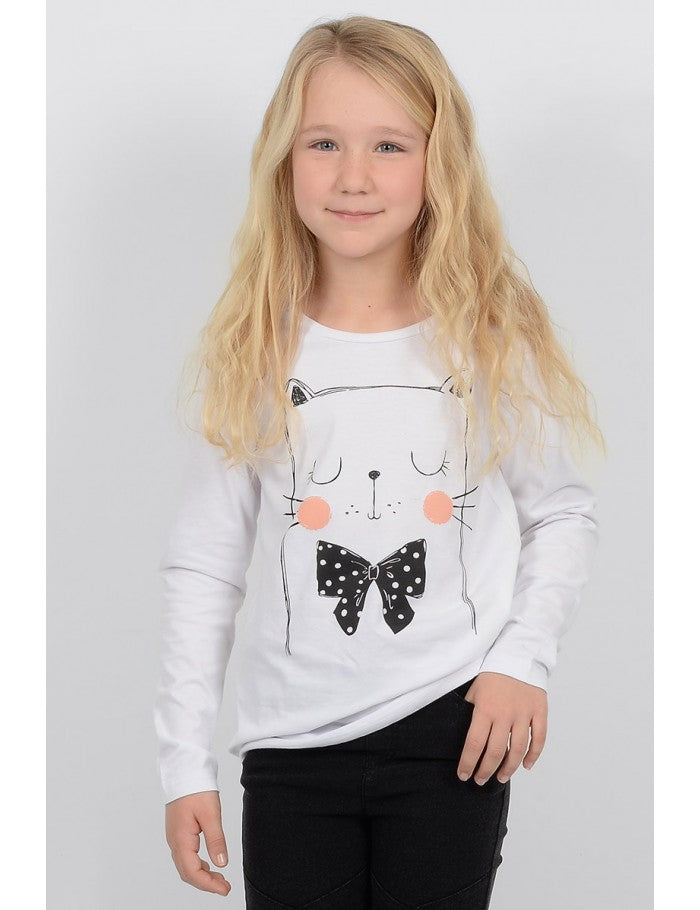 Mini Molly Long sleeve white cat shirt