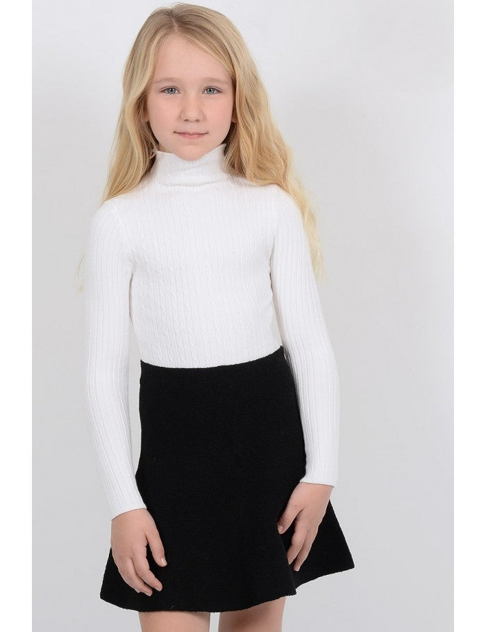 Mini Molly White Turtleneck  with pattern