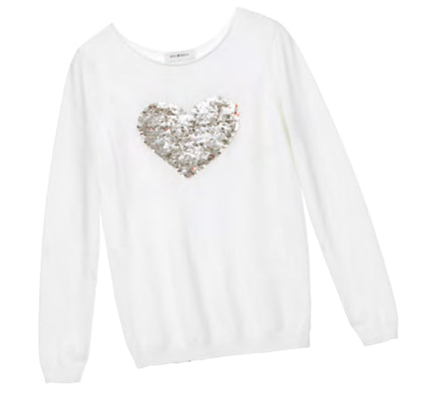 Mini Molly white knitted reversible sequin heart sweater