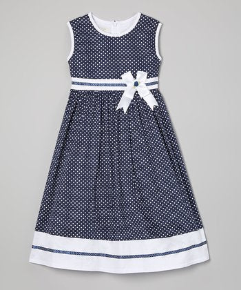 Richie House Blue Dot Sash A-Line Dress