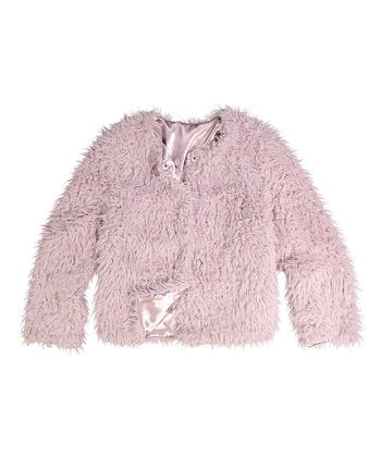 CoffeShop Kids Muted Lilac Shaggy Jacket