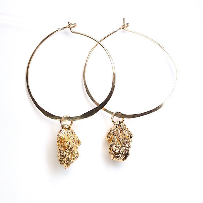 24k Gold Cannabis Nug Hoop Earrings