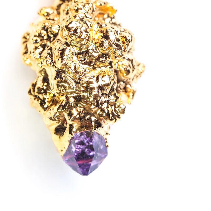 Gold Cannabis Nug with Amethyst Crystal