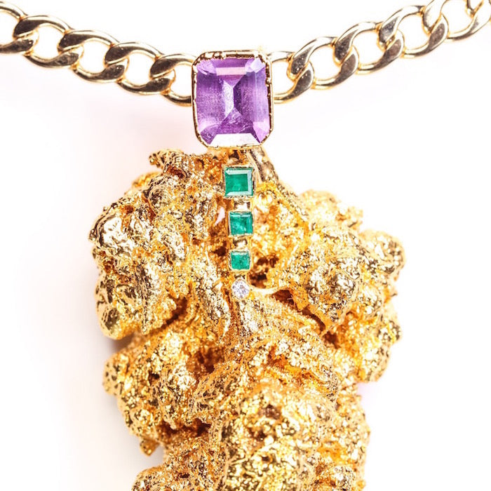 Gold Cannabis Nug with Amethyst, Emeralds, and Diamond.