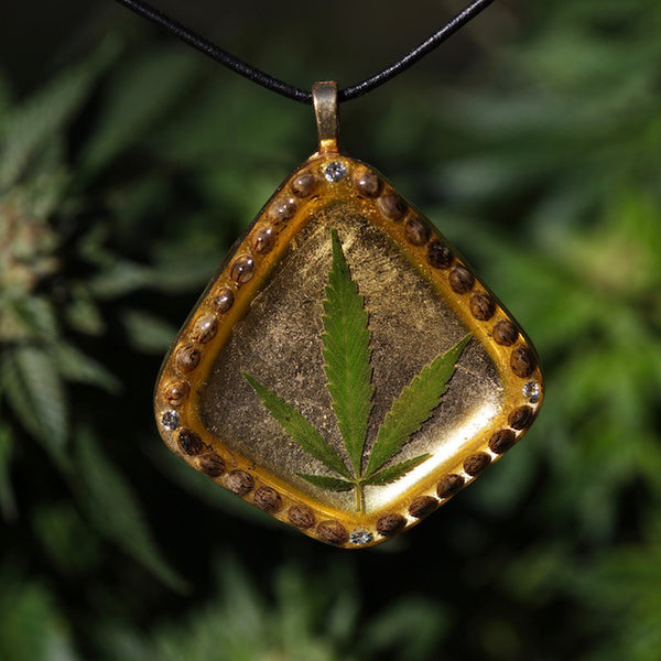 24k Diamond Cannabis Leaf Pendant