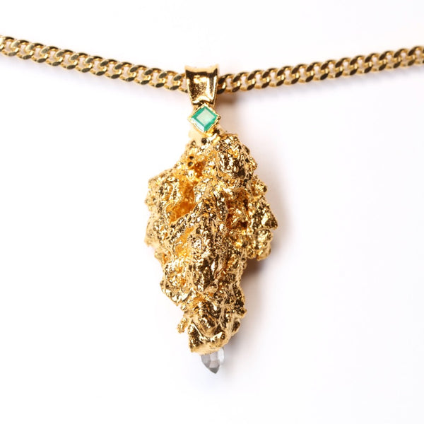 Gold Cannabis Nug with Emerald and Quartz Crystal Point
