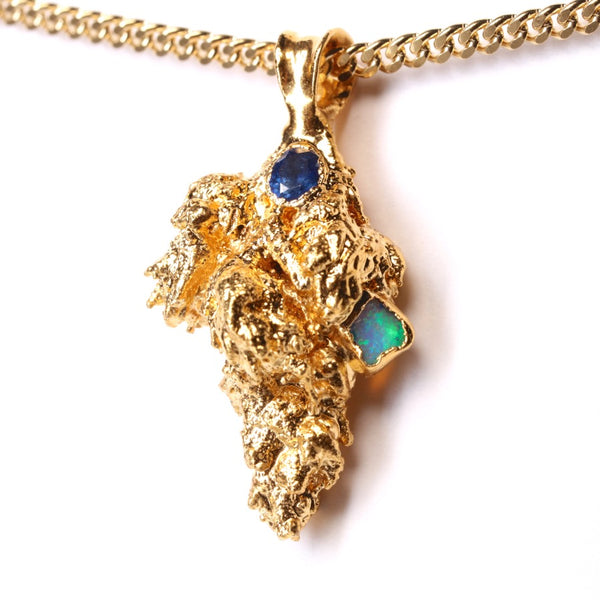 Gold Cannabis Nug with Blue Sapphire and Ethiopian Opal