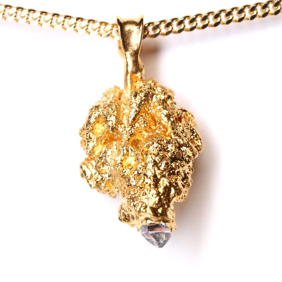 Gold Cannabis Nug with Ruby, Ethiopian Opal and Quartz Crystal Point