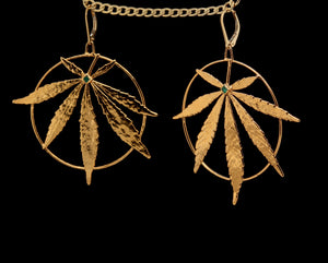 24k Lalibela Leaf Earrings with Emerald