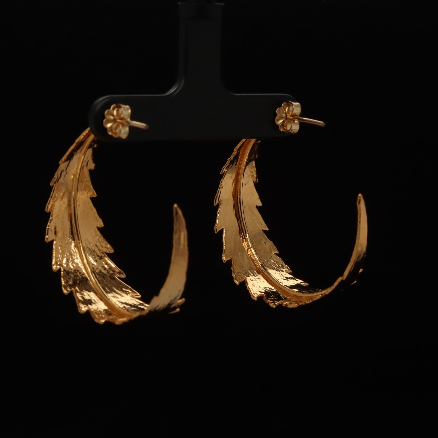 24k Cannabis Leaf Hoop Earrings