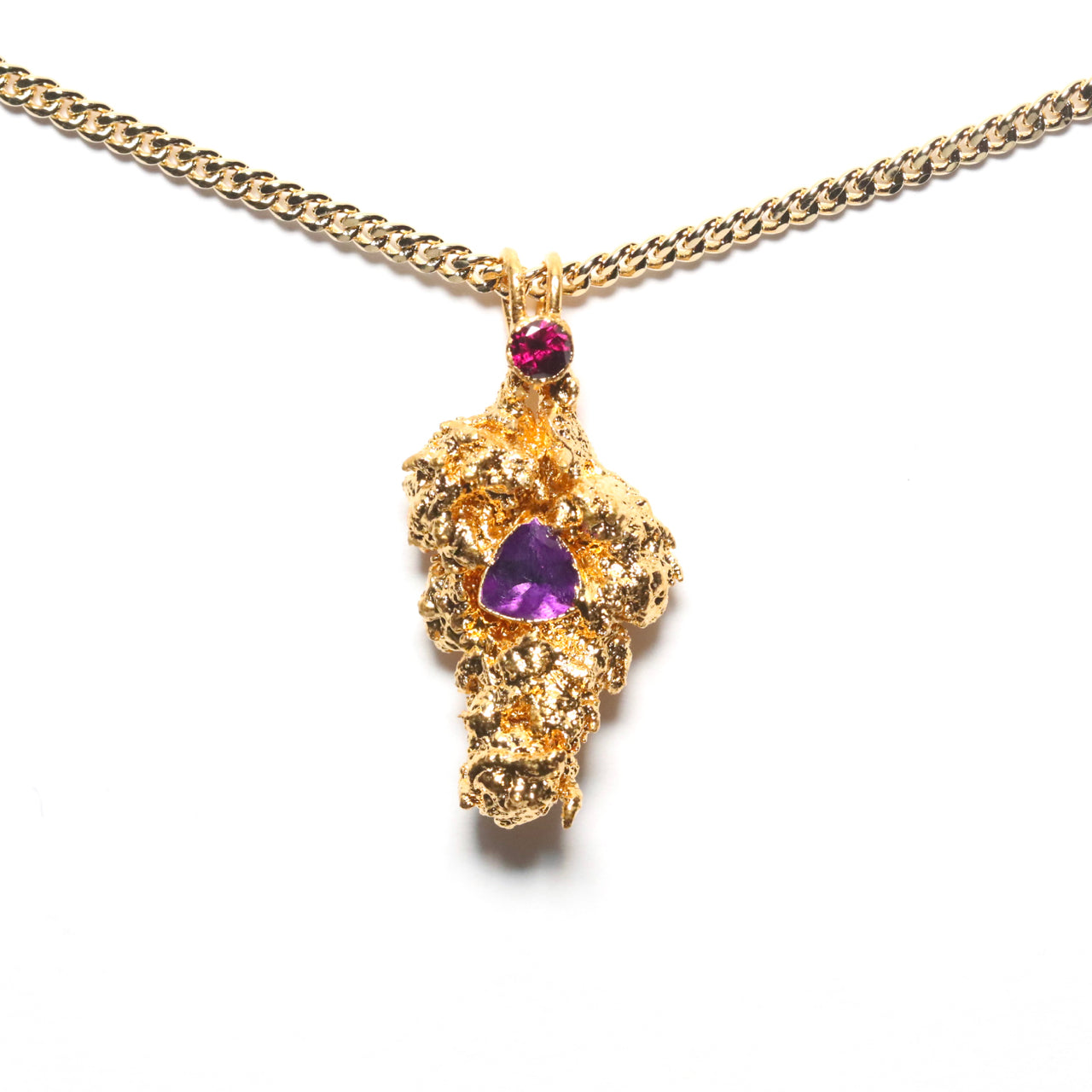 Gold Cannabis Nug with Amethyst and Rhodolite