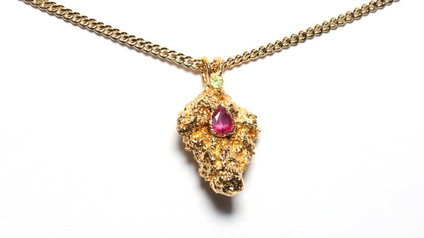24k Gold Cannabis Nug with Pink Tourmaline & Peridot