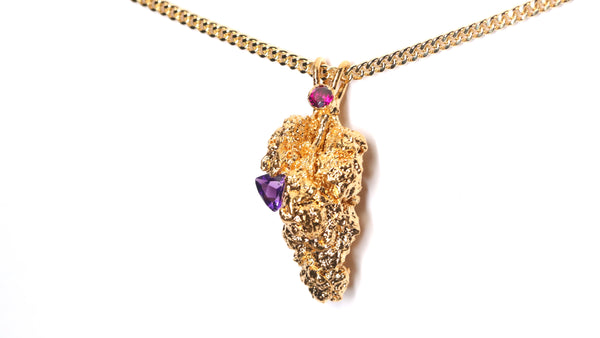24k Gold Cannabis Nug with Amethyst & Rhodolite