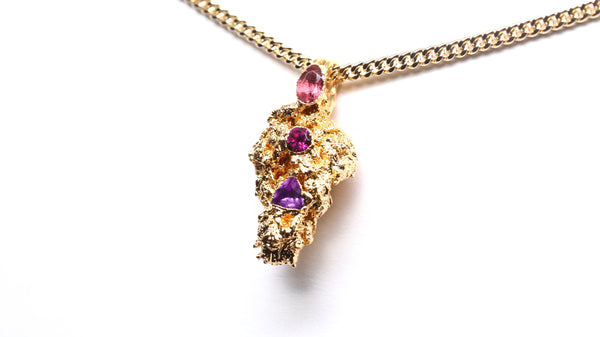 24k Gold Cannabis Nug with Tourmaline, Rhodolite & Amethyst