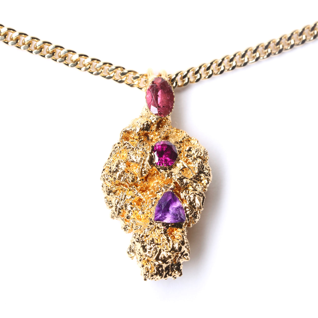Gold Cannabis Nug with Pink Tourmaline