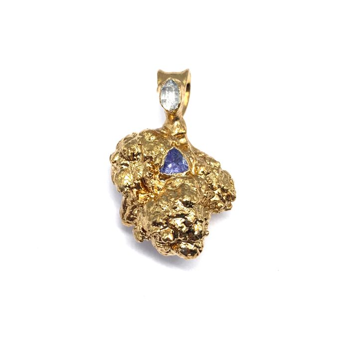 24k Cookies Nug with Herkimer Diamond and Tanzanite