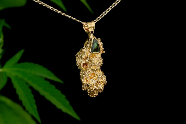 24k Gold Cannabis Nug with Opal and Garnet