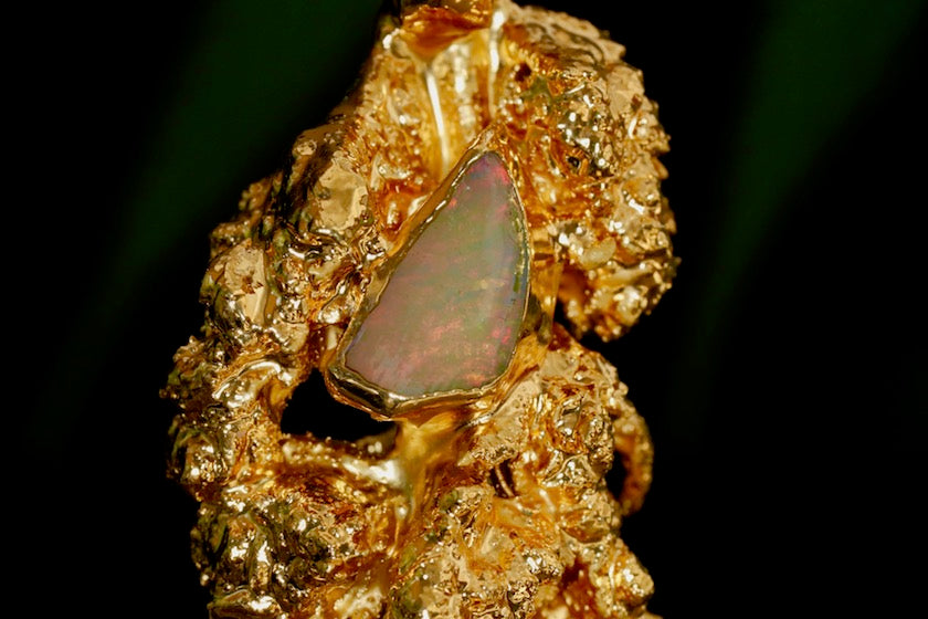24k Gold Cannabis Nug with Opal and Emerald