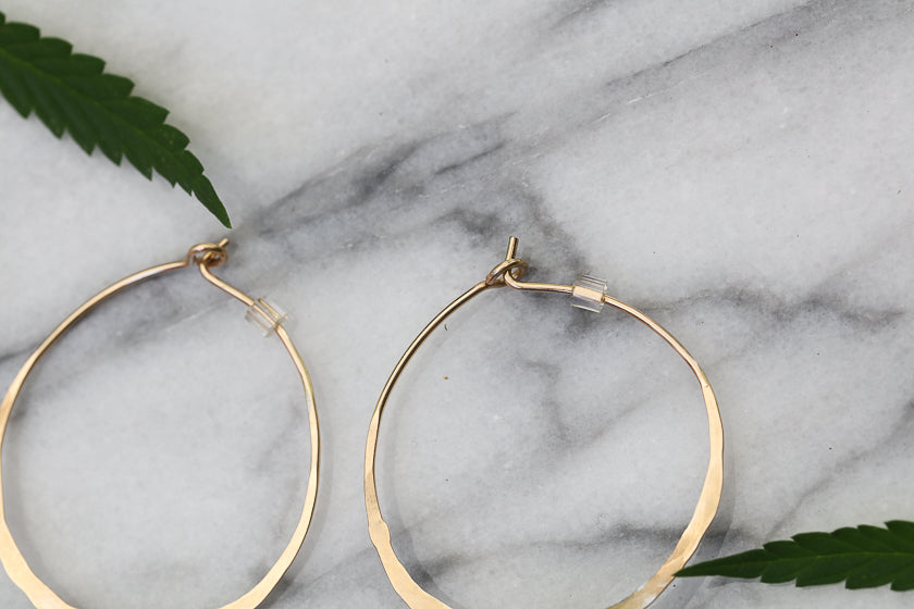 24k Gold Cannabis Hoop Earrings
