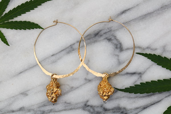Gold Cannabis Hoop Earrings