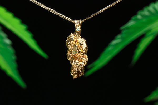 24k Gold Cannabis Nug with Peridot and Opal
