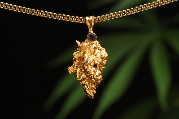 24k Gold Cannabis Nug with Amethyst