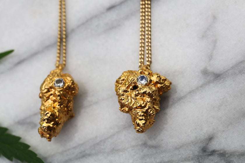 24k Gold Cannabis Nug Earrings