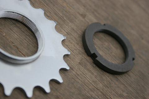Silver Fixed Gear Sprocket and Black Fixed Gear Lock Ring