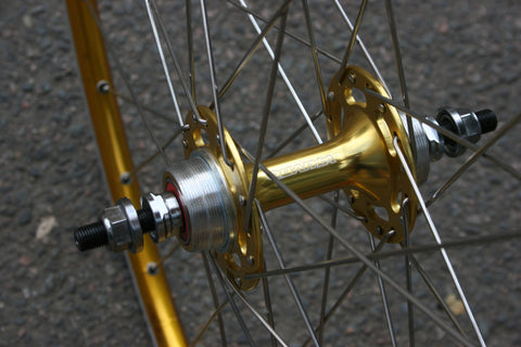 Flip Flop Bicycle Hub on Gold SSC Premium Wheel