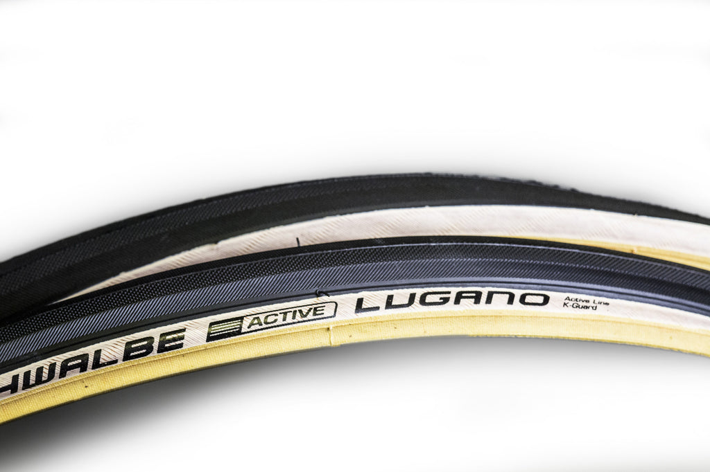 Pair of Beige Wall Schwalbe Lugano Tyres 700c x 25mm