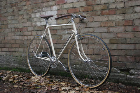 Classic Single Speed Bike | Cream Frame, Silver Parts, Brown Trim