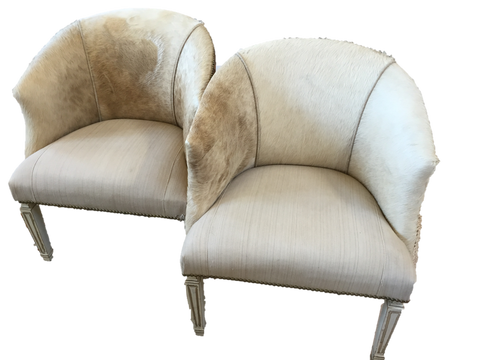 Pair of Cowhide and Linen Barrel Chairs