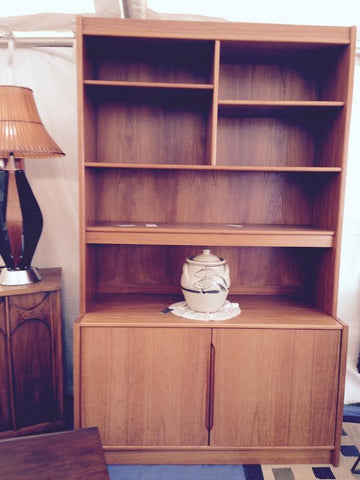 Mid Century Modern Danish Cabinet  with Display Shelves