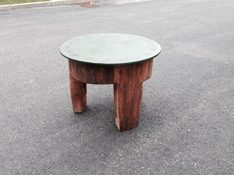Primitive Lodge Rustic Country Table with Hand Painted Moose on outer edge
