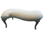 French Style 'S' Shaped Upholstered Bench