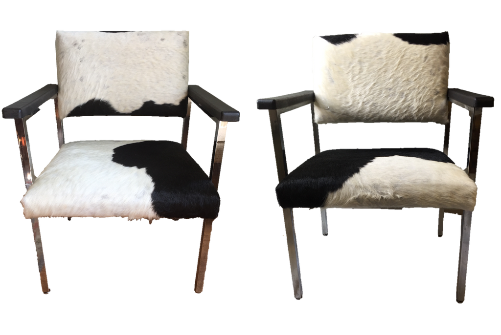 Pair of Cowhide Covered Mid-Century Modern Chairs - SOLD