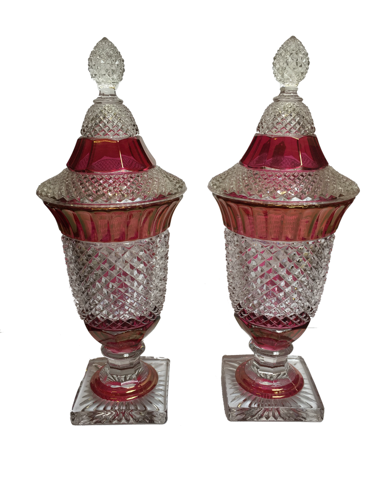 Pair of Antique Ruby Flash Covered Jars