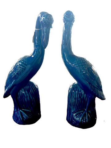 Vintage Blue Chinese Cranes