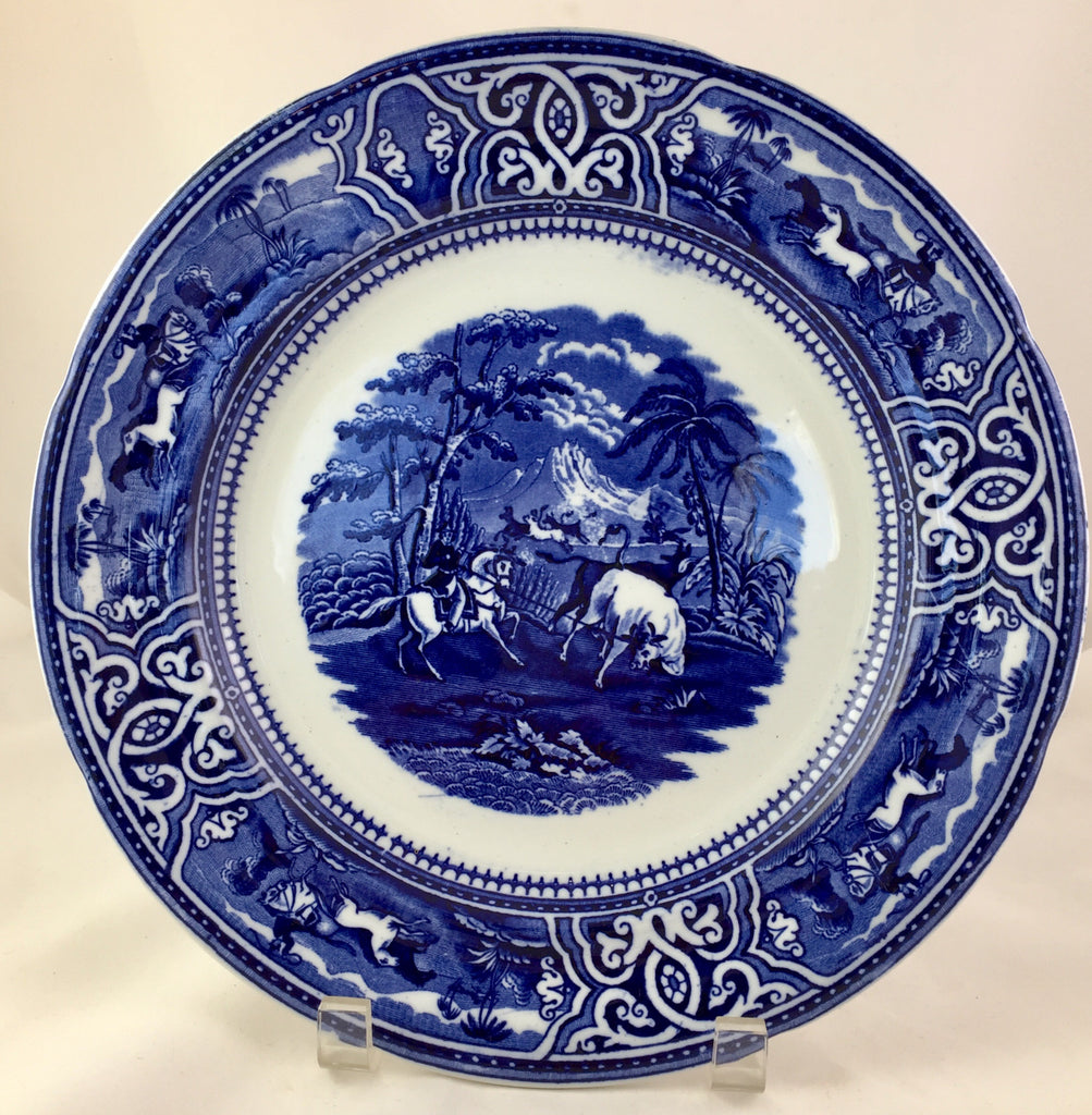 Imported Hallmarked Toro and Sons Staffordshire Flow Blue Plate with Equestrian Hunting Depiction