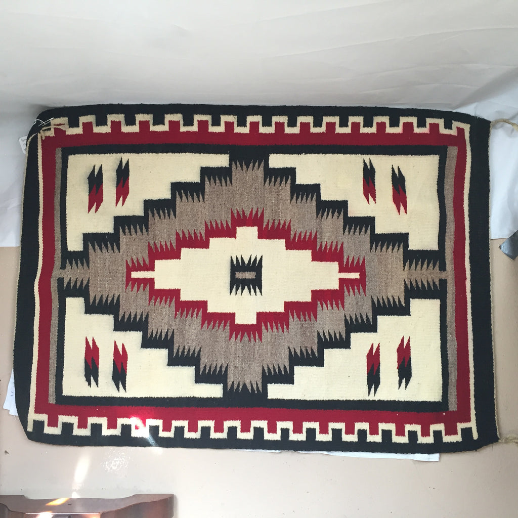 Red Black and White Navajo Rug