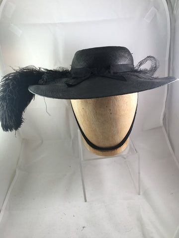 Hat Vintage Black with Feather and Veil