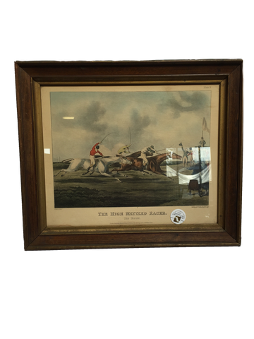 Print Antique 1821 English Racing Lithograph