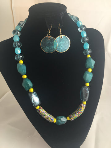 Demi Parure Set Necklace & Earrings Aqua Lucite and African Trade Beaded Necklace with Matching Earrings