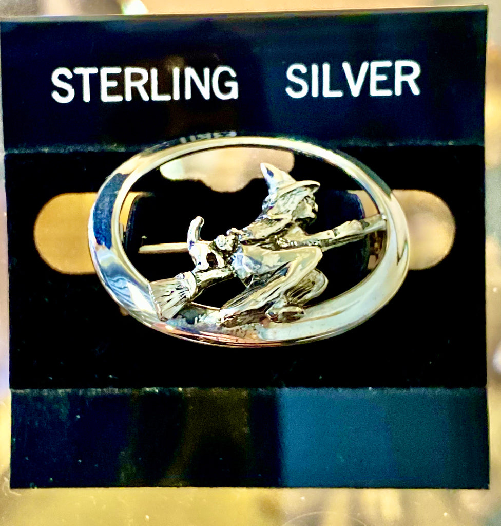 Sterling Silver brooch pin Witch on broomstick