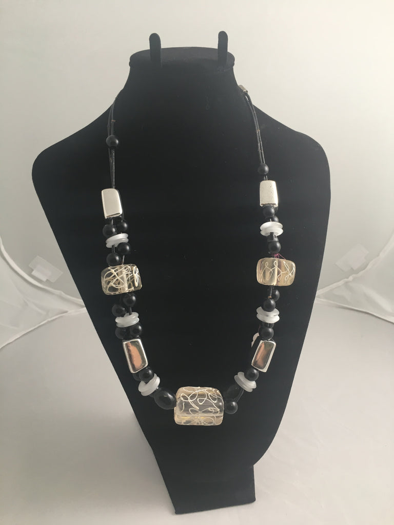 Necklace  Black, White and Silver Chunky Necklace