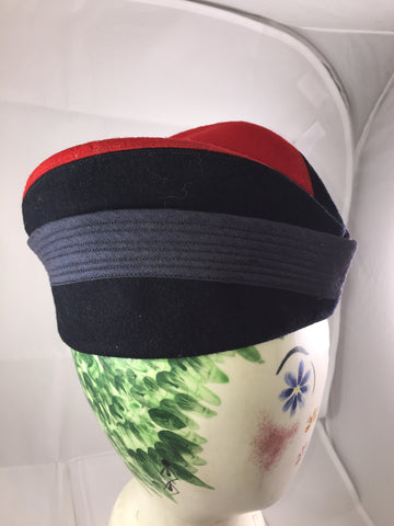 Hat, vintage, navy blue and red
