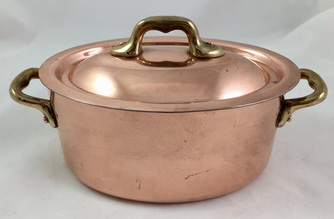 Covered Copper Casserole France  SOLD