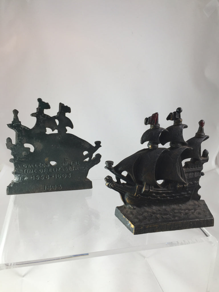 Bronze Galleon in the Time of Elizabeth Bookends set of 2