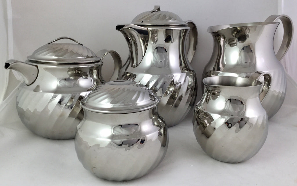Yamasaki Stainless Steel Tableware Coffee and Tea Service Set c. 1960