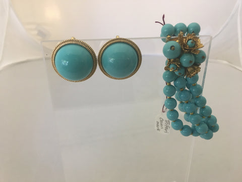 Set Turquoise Blue Earrings and Bracelet  SOLD